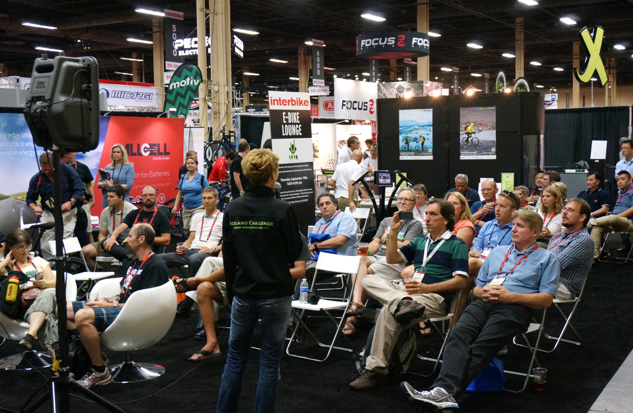 Iceland Challenge presentation at the LEVA E-Bike Lounge at Interbike, Las Vegas 2013 (SB)